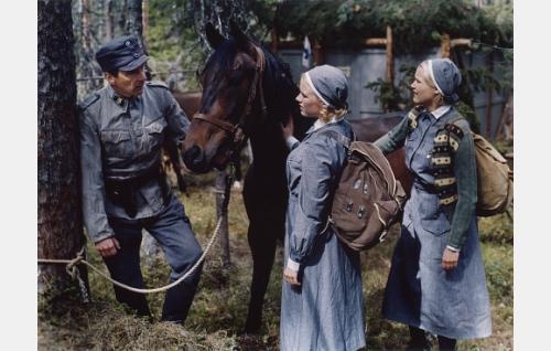 Tallivääpeli (Matti Rasila) ja eläinlääkintälotat Mona (Laura Birn) ja Anita (Anna-Maija Tuokko) rintamalla.