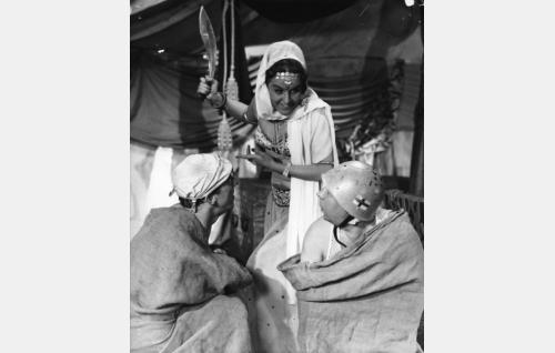 Pekka Puupää (Esa Pakarinen), kalifi Abu Kabun tytär Suleima (Assi Nortia) ja Pätkä (Masa Niemi).