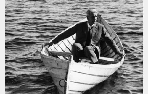 Professori Sedano (Eino Krohn) airottomassa veneessä.