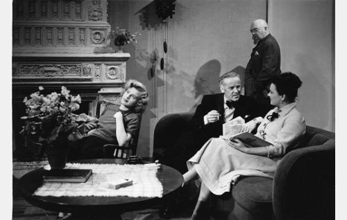 Istumassa tohtori Peltosen tytär (Sirkka Osmala, vas), kansainvälisen kasvissyöjäliiton asiamies Mr. Wilkins alias Don X (Aarne Laine) ja rouva Peltonen (Senja Sora). Heidän takanaan seisoo hiusvesitehtailija Harry Brown (Aku Korhonen).