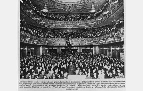 Elokuvan esitys kansainvälisen diplomaattikongressin osanottajille elokuvateatteri Orfeonissa Italian Genovassa keväällä 1922.