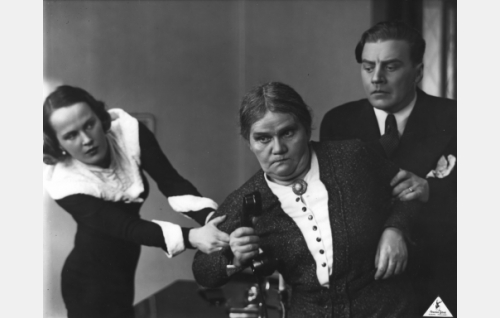 Marja Vehari, o.s. Paasisto (Maire Suvi), kotiapulainen Priskilla Paukkaja, ent. Packmanson (Hertta Leistén), Raimo Vehari, ulkoministeriön virkamies (Joel Rinne)