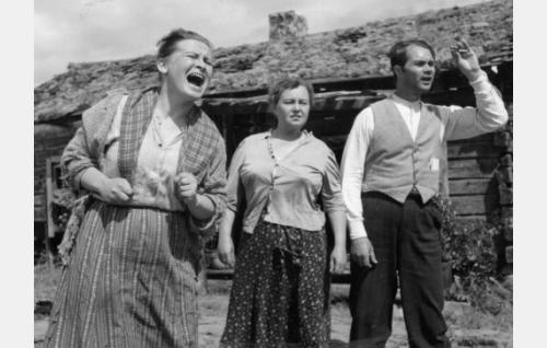 Rosina Käkriäinen (Elvi Saarnio), hänen veljensä Mauno Kypenäinen (Ari Laine, oikealla) ja tämän vaimo Pertta (Sylva Rossi, kesk.).