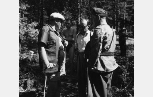 Oikealta: Edvin Laine, Väinö Linna, Tauno Palo (Sarastie). Taustalla uimahousuillaan Suentassu= Kale Teuronen