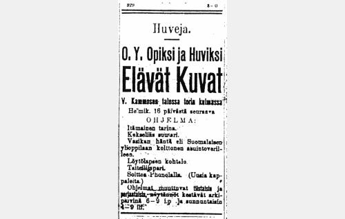 <i>Vasikan häntä</i> -elokuvan ilmoitus jyväskyläläisessä Keski-Suomi-lehdessä 18.2.1909.