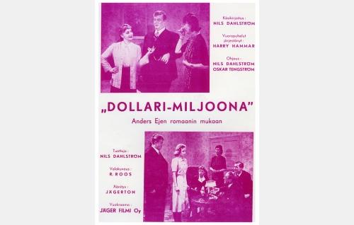 Elokuvan kokosivun ilmoitus Elokuvateatteri-lehden numerossa 9/1942. Yläkuvassa vasemmalta Liisa Rahola, Sven Relander ja Eja Tengström. Alakuvassa edellisten lisäksi seisomassa toinen vasemmalta Brita Olin ja oikealla Oskar Tengström sekä Vilho Ruuskanen.